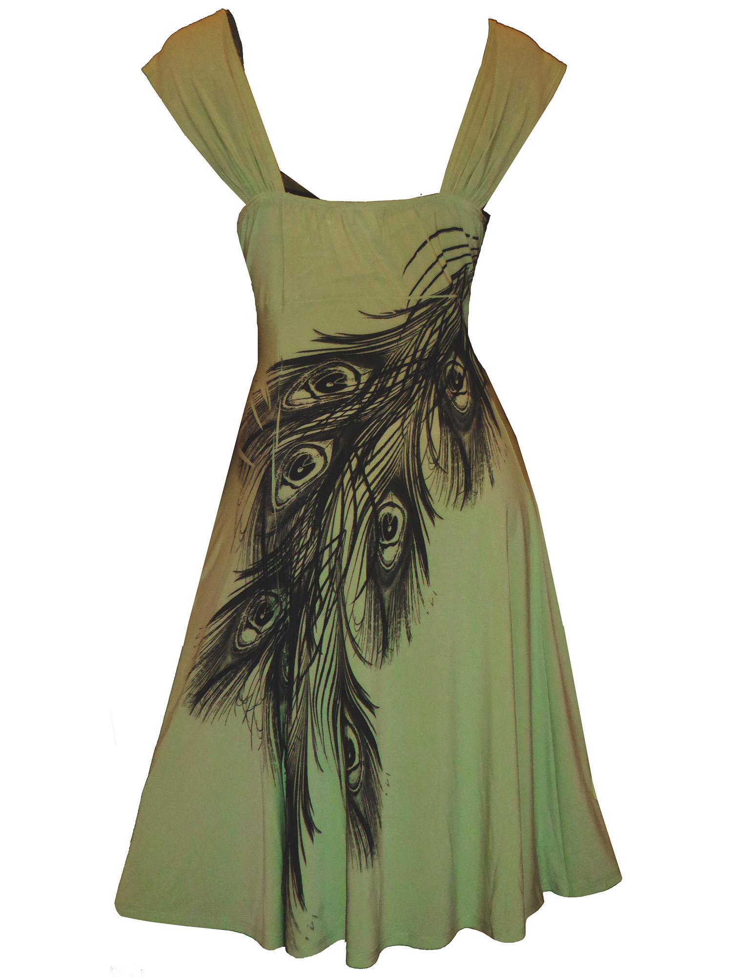 37348db0891 SC  Funfash Plus Size Women Slimming Olive Sage Green Peacock Dress ...