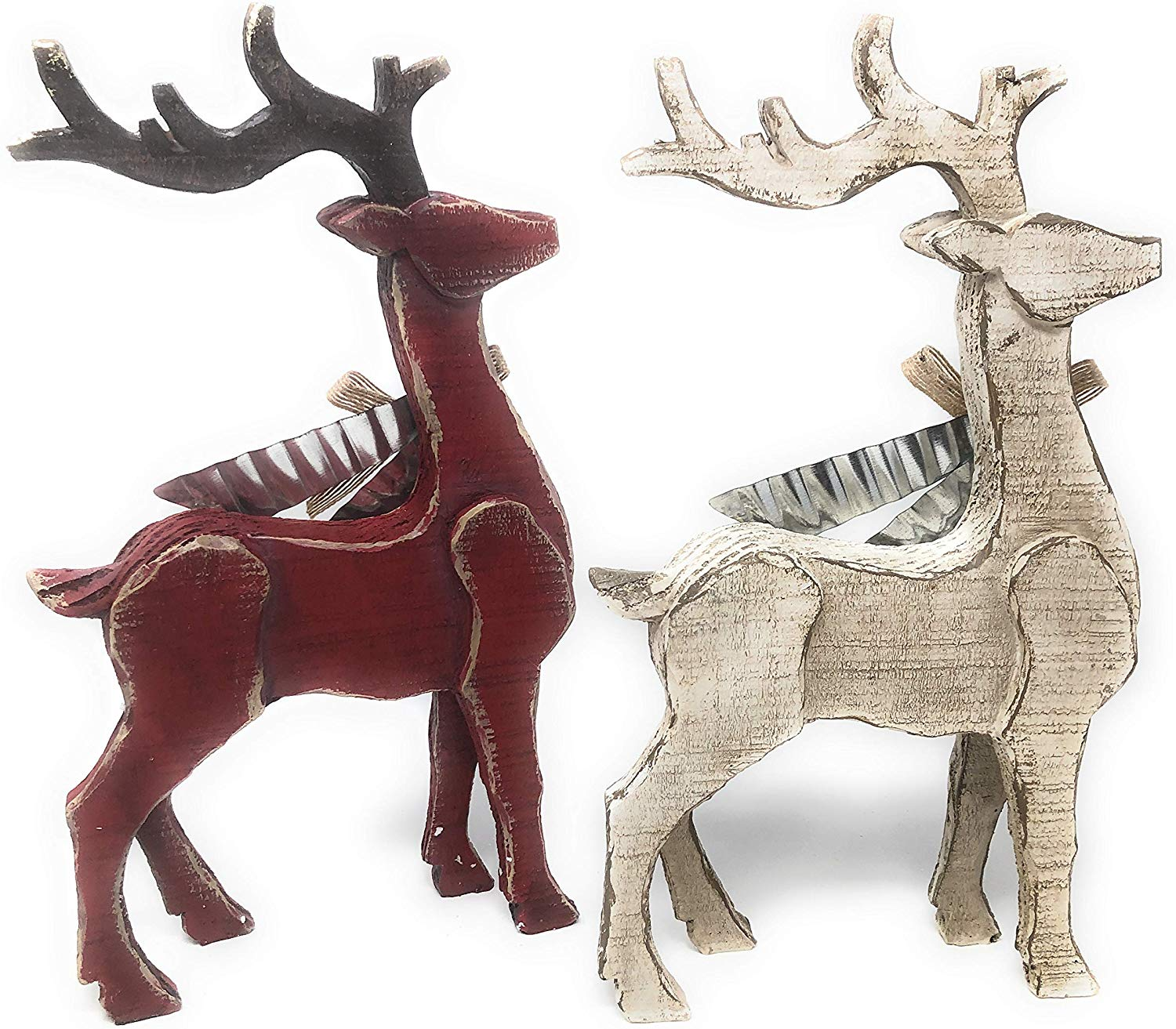 Set Of Two Faux Wood Reindeer Standing Home Decoration Worn Look Metal Bow Ebay
