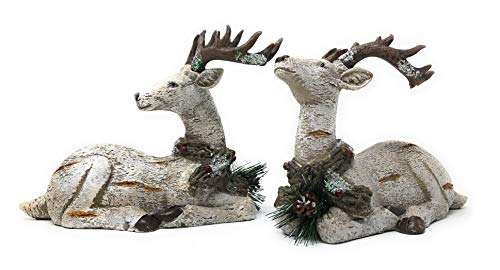 Details About Set Of 2 Holiday Reindeer Figurines Laying Down Birch Look Tabletop Decorations
