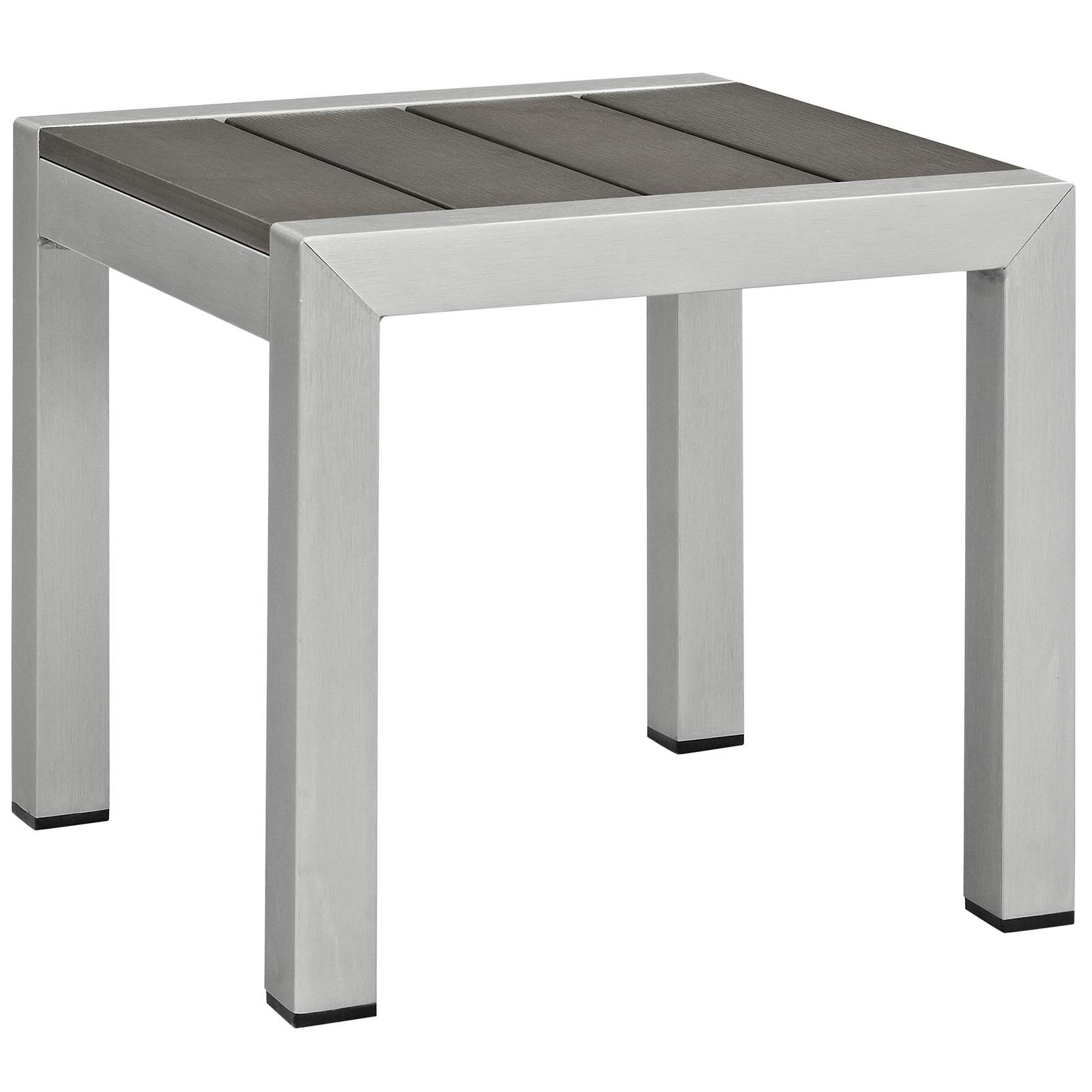 Silver Gray Shore Outdoor Patio Aluminum Side Table