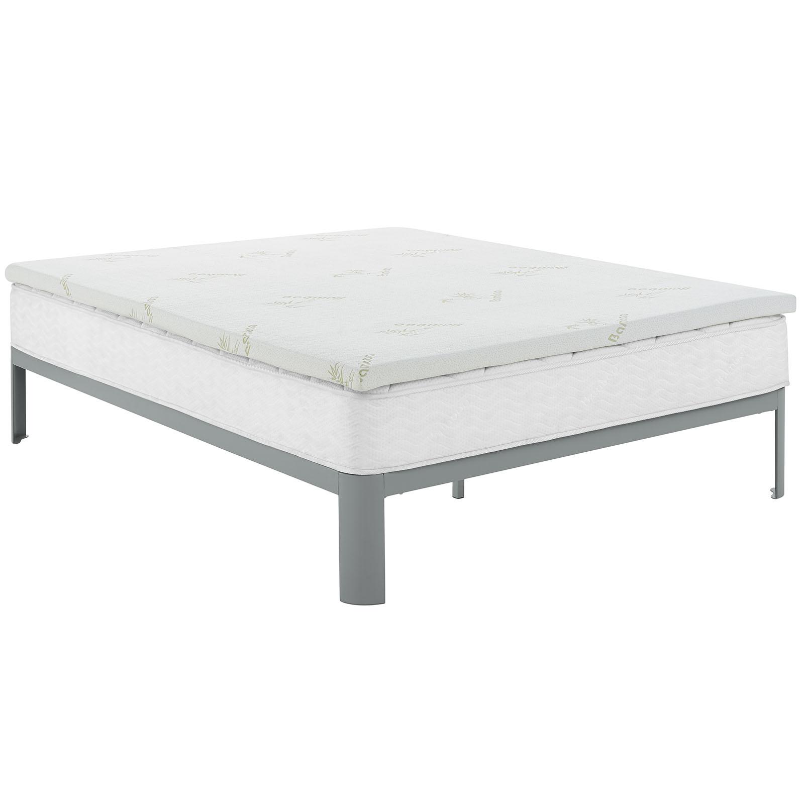 Relax Queen 2 Gel Memory Foam Mattress Topper In White 889654078906