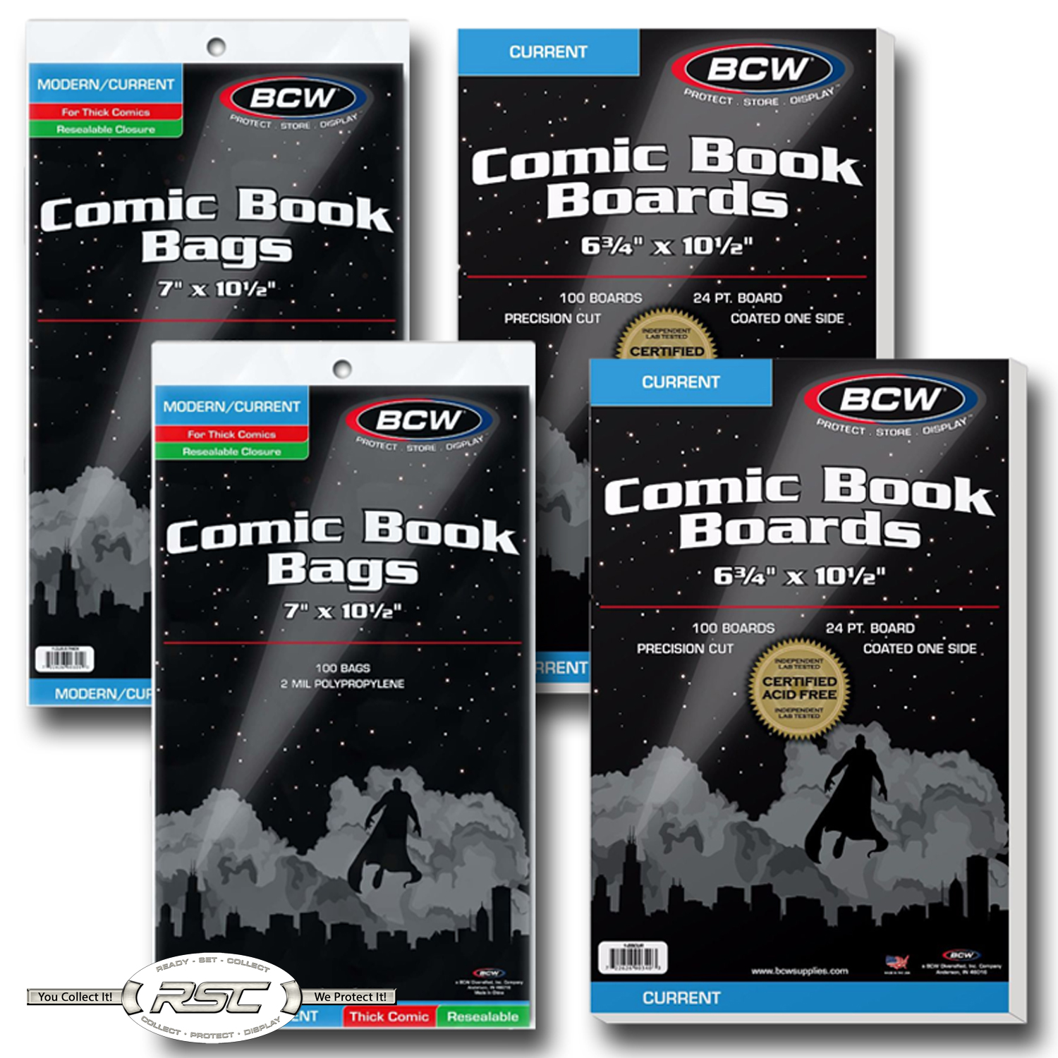 300 BCW THICK Current //Modern Age Comic Book Poly Bags Acid Free Backer Boards