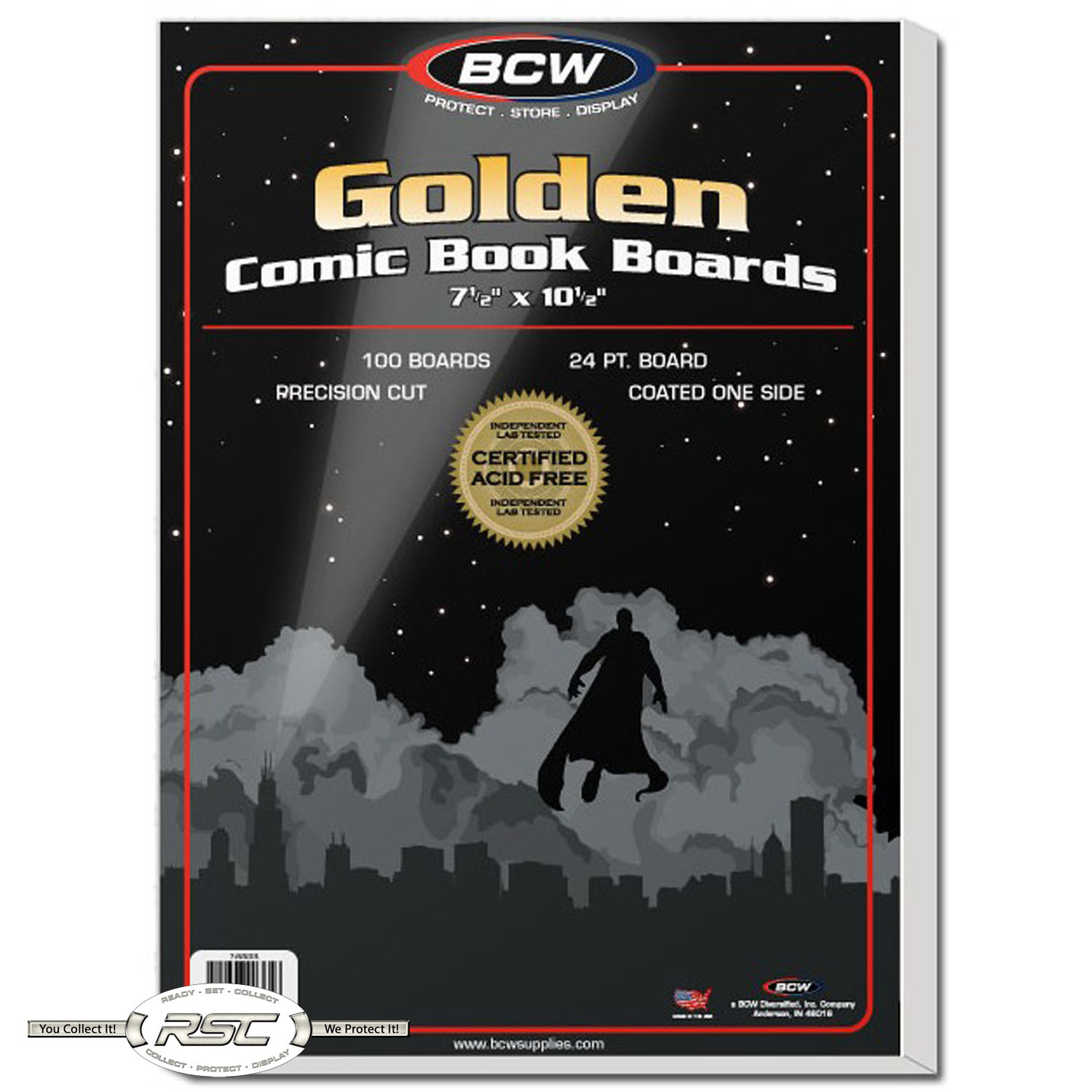 100 BCW Resealable Golden Bags /& Backing Boards