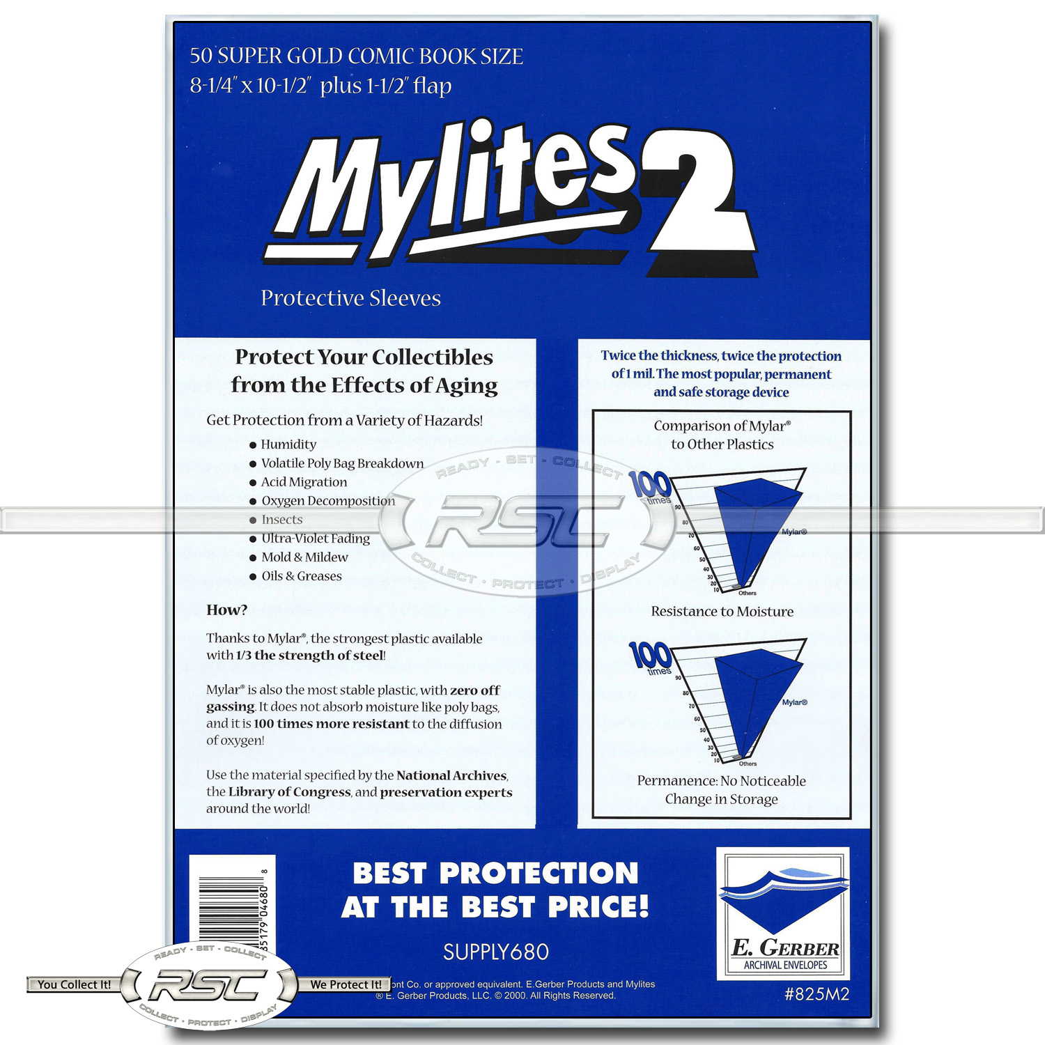 Gerber Mylites 2 Mil Mylar Thick Silver Age Comic Book Bags sleeves 775M2 50 E
