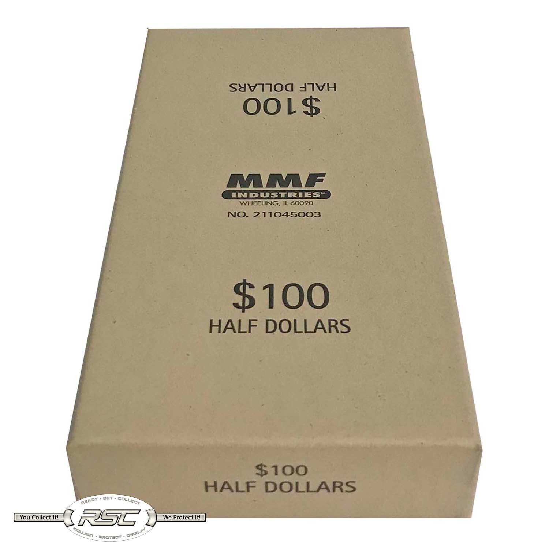 100 Dollar Capacity Tan 211045003 MMF Industries Chipboard Coin Storage Box for Half Dollars