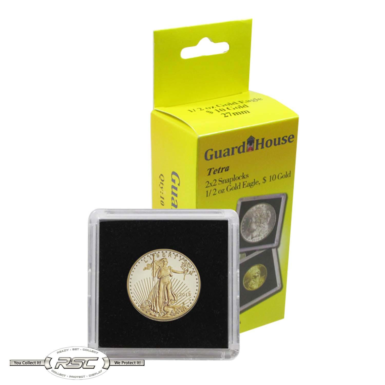 Single Tetra Snaplock 2x2 Coin Holder For 1//2oz Gold Eagle Quantity Discount 1