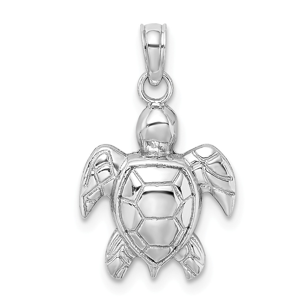 14K-White-Gold-2-D-Textured-Sea-Turtle-Charm