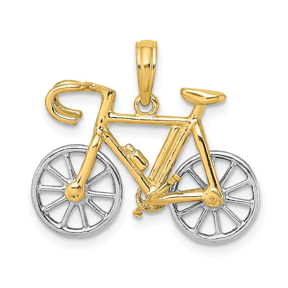 Sterling Silver Rhodium-platedPolished Bicycle Charm