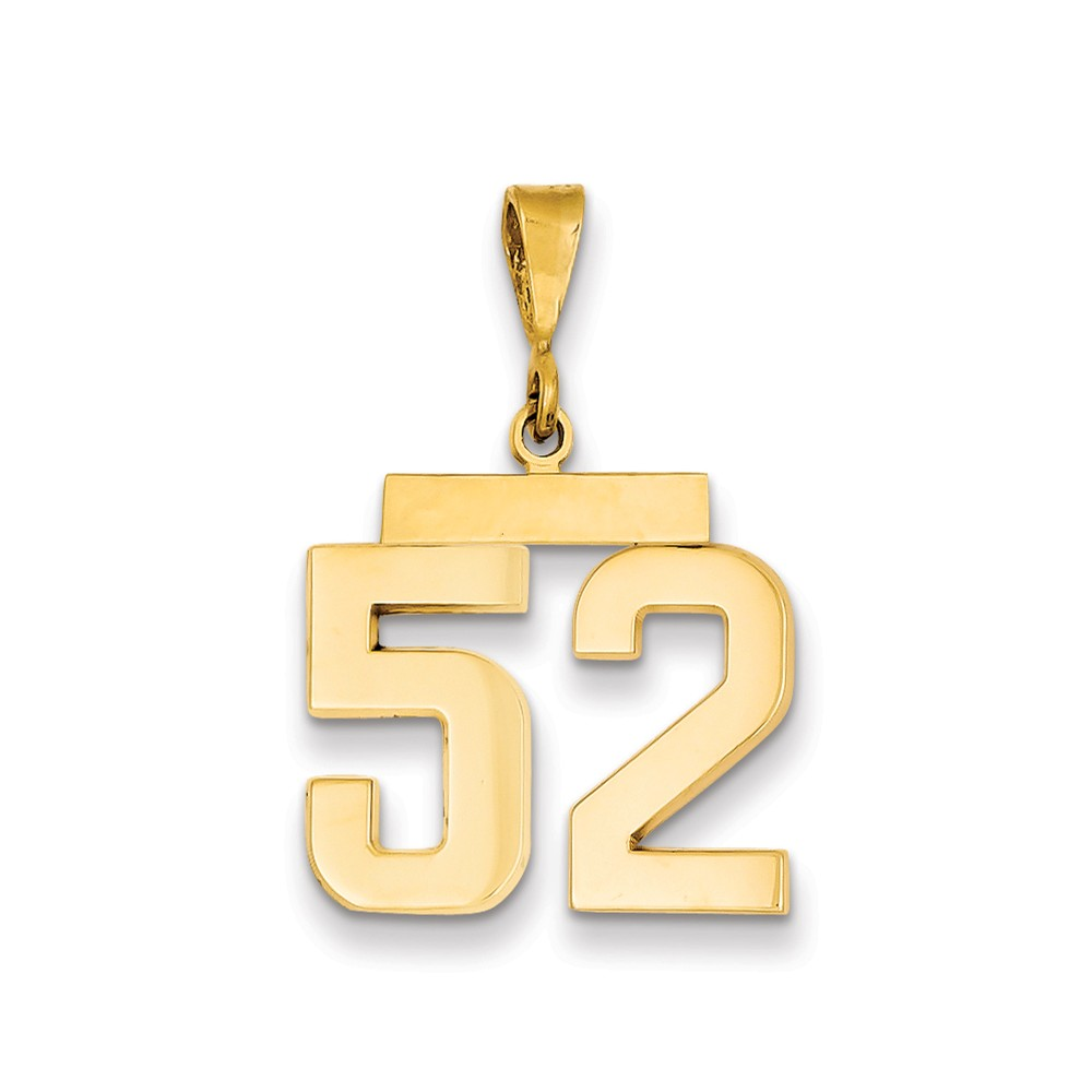 14k Medium Polished Number 52 Charm New Sports Pendant