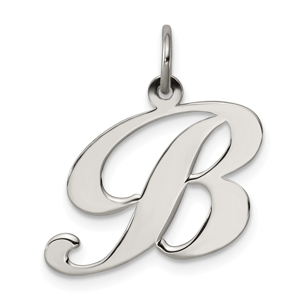 925 Sterling Silver Small Fancy Script Initial V Charm and Pendant