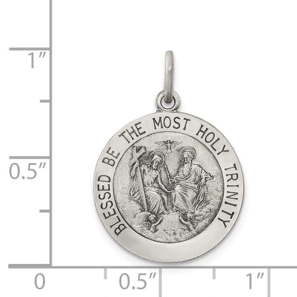 Sterling Silver Enameled Miraculous Medal Pin 1.1 in x 0.71 in