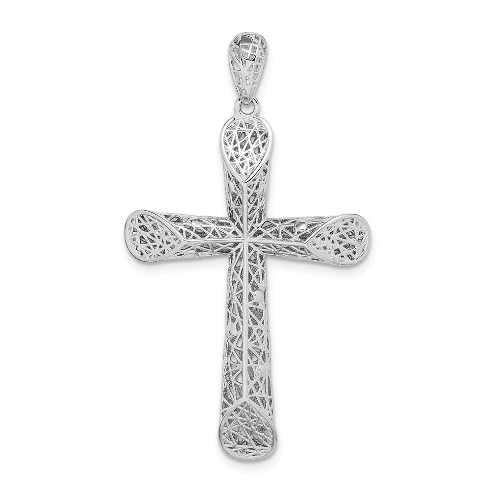 DiamondJewelryNY Sterling Silver Rhodium-Plated Polished Hollow Tear Drop Pendant