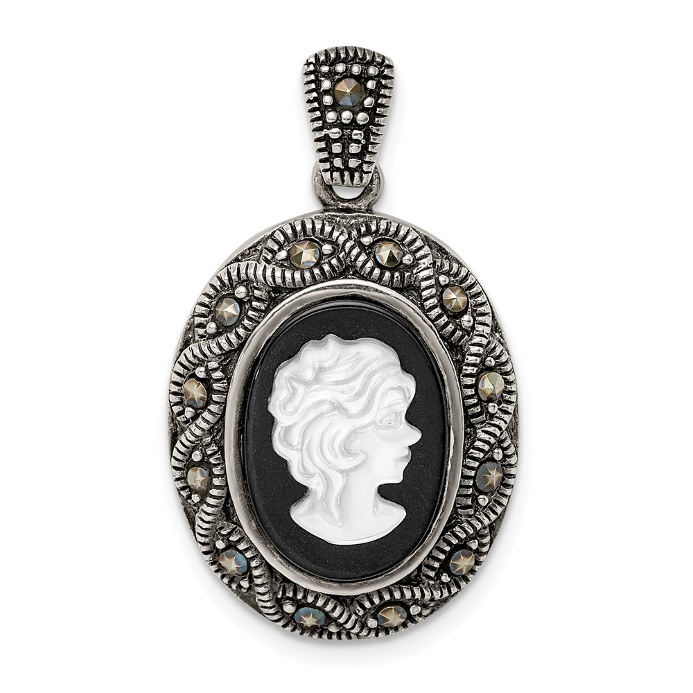 Sterling Silver Antiqued Marcasite Chamseh Pendant