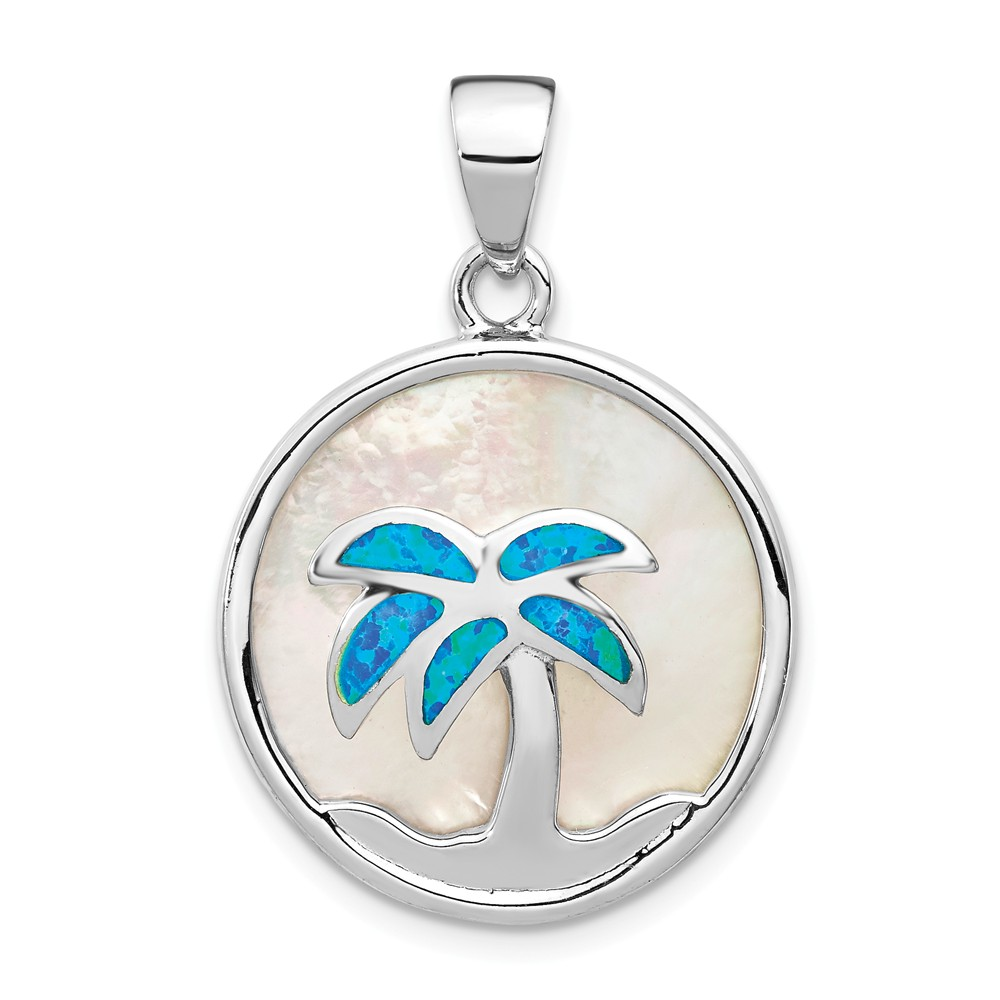 BLUE LAB OPAL STERLING SILVER DOUBLE PALM TREE HEART PENDANT w//CHAIN RHODIUM