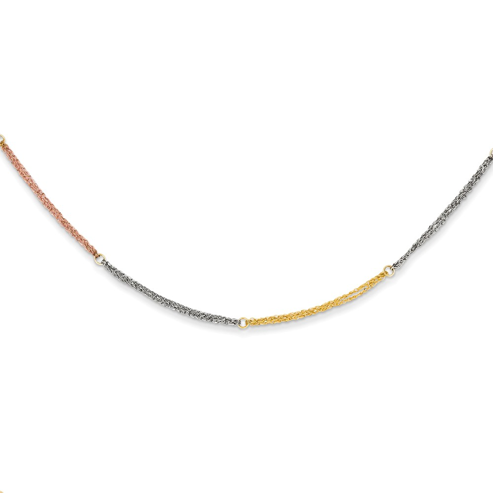 14k Yellow Gold Tri-color Puff Heart Lariat with 2in ext Necklace