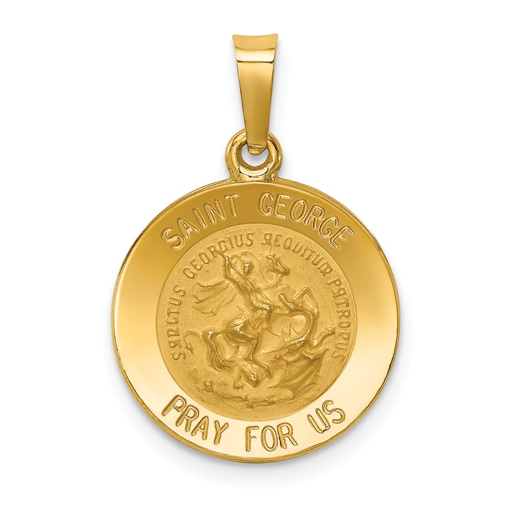 Vincent Hollow Medal Pendant Religious Charm 14k Polished /& Satin St