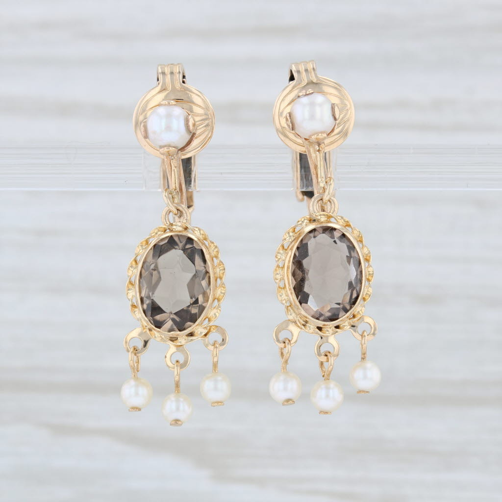 Details About Smoky Quartz Pearl Dangle Earrings 14k Yellow Gold Vintage Clip On