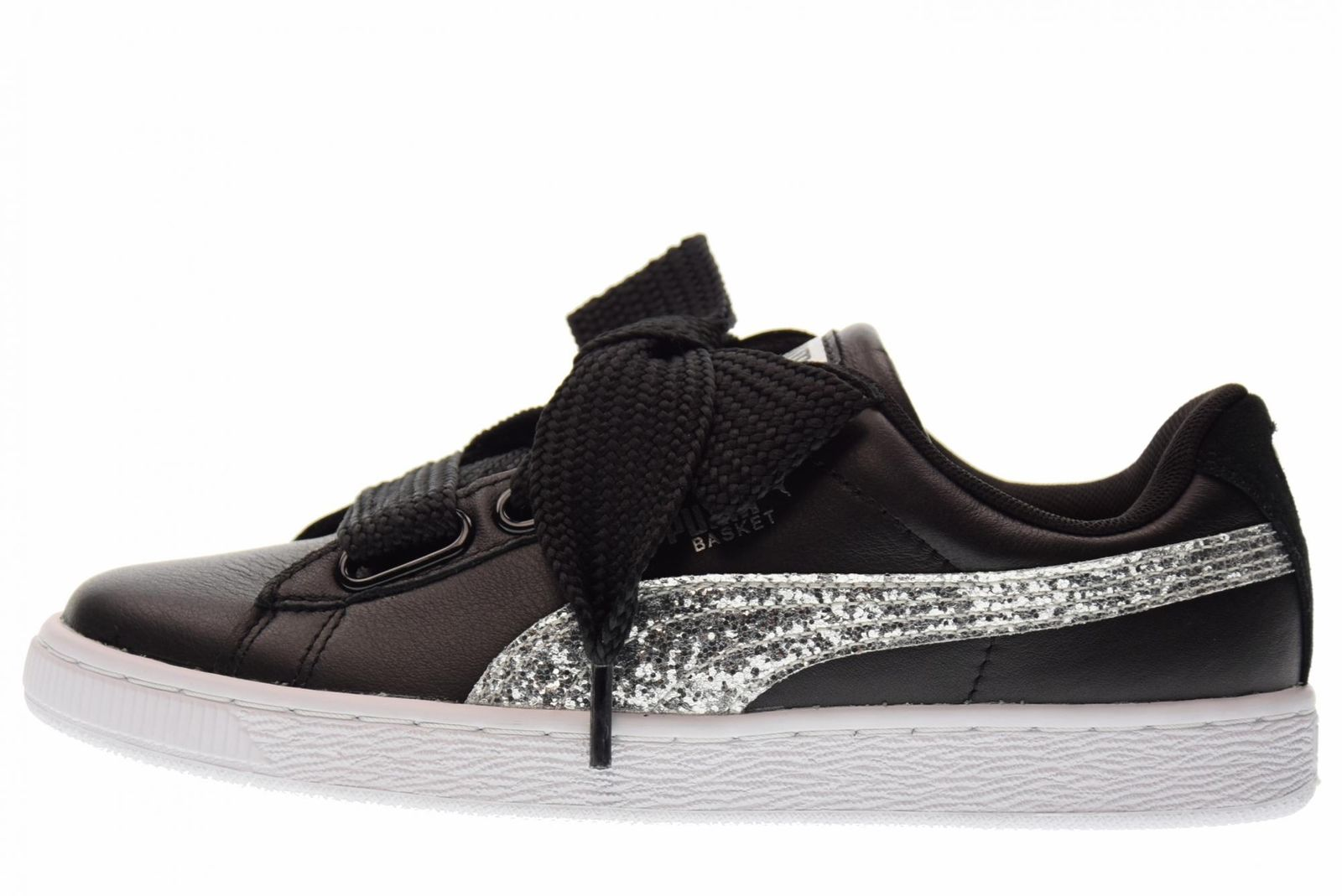 Puma Puma Puma 364078 03 Basket Heart Glitter Black Silver Women's Athletic Sneaker d6e9ff