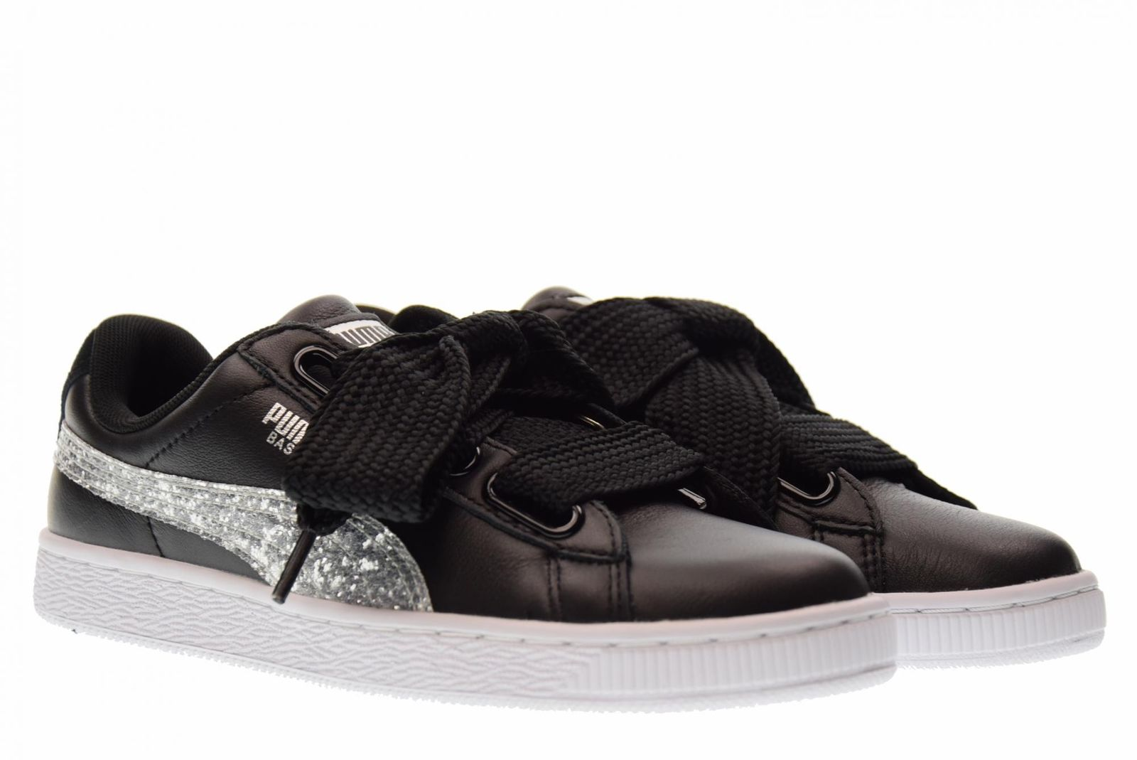the latest 153a7 2c862 Details about Puma 364078 03 Basket Heart Glitter Black Silver Women's  Athletic Sneaker