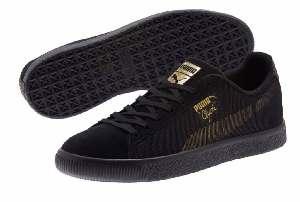 Puma 365656 01 Clyde Holidaze Metal Black Metallic gold Men's Casual shoes