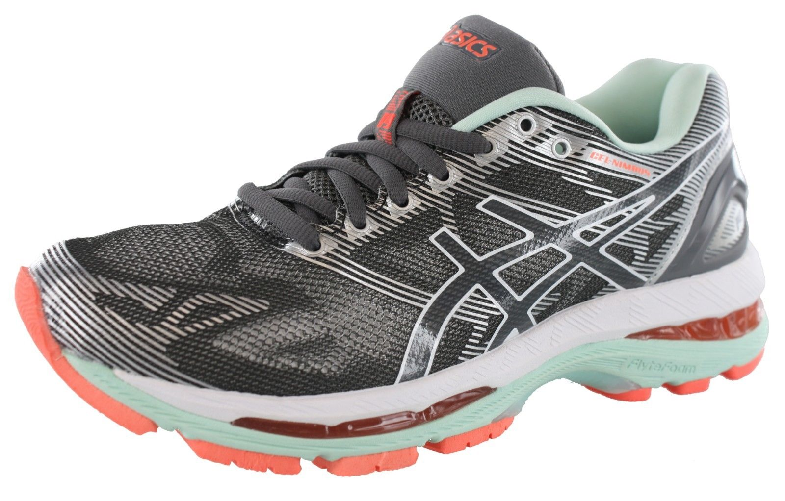 Asics T753N 9701 Gel-Nimbus 19 Carbon White Flash Coral Womens Running shoes