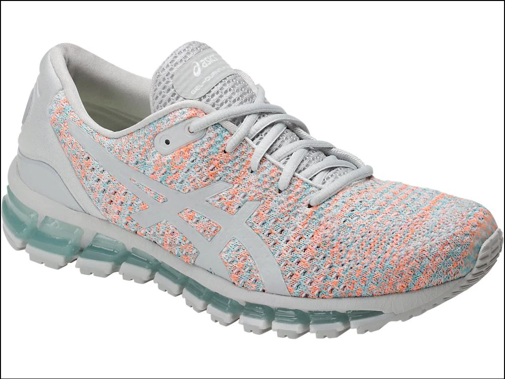 check-out 3f636 15857 Details about Asics T890N 9609 GEL Quantum 360 Knit Grey Orange Blue  Women's Running Shoes