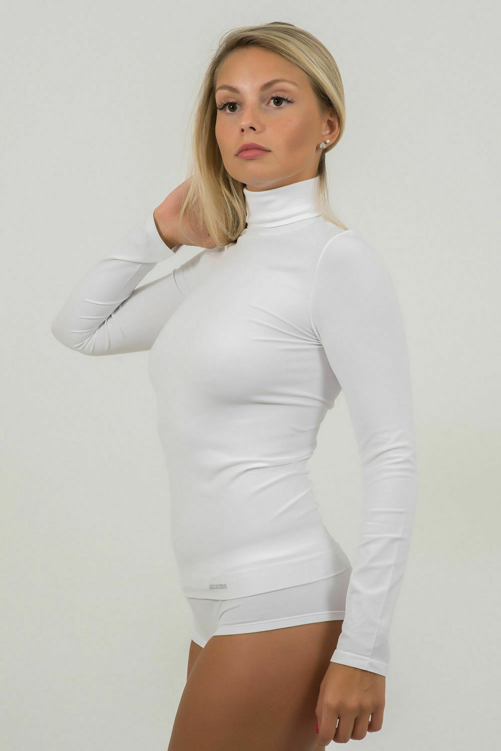 Bellissima-Women-039-s-Long-Sleeve-Turtleneck-Stretch-Slim-Lightweight-Pullover thumbnail 21