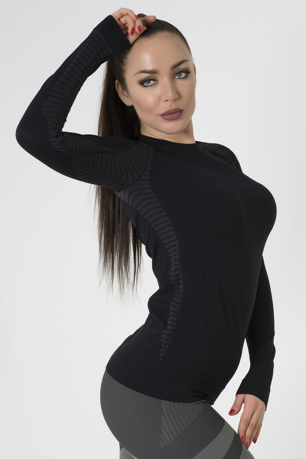 Bellissima-Women-039-s-Athletic-Compression-Long-Sleeve-Shirt-Moisture-Wicking-Top thumbnail 25