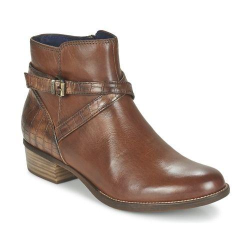 Details about Tamaris Marly Womens Brown Leather Ankle Boots