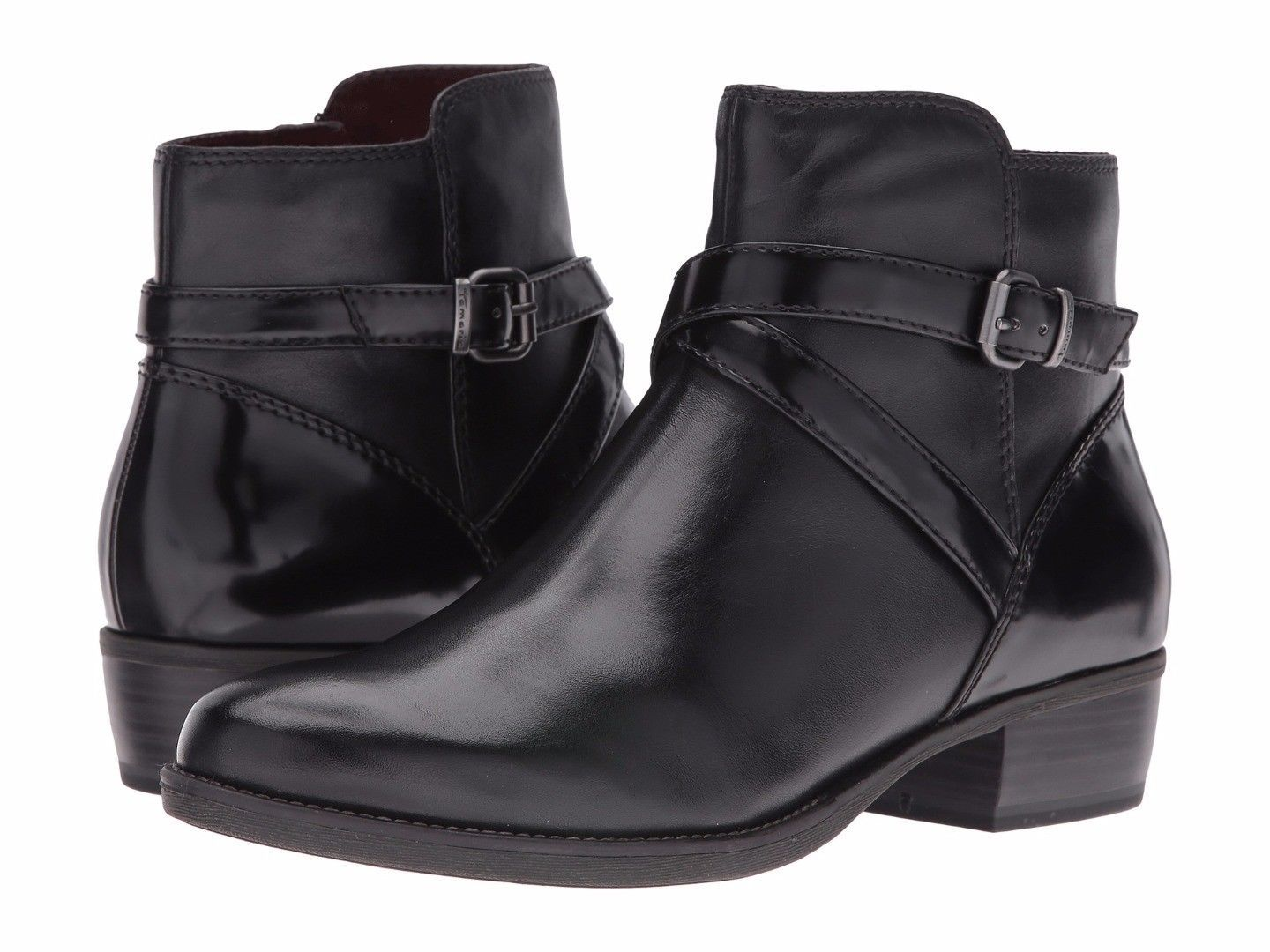 Details about Tamaris Marly Black Leather Ankle Boots