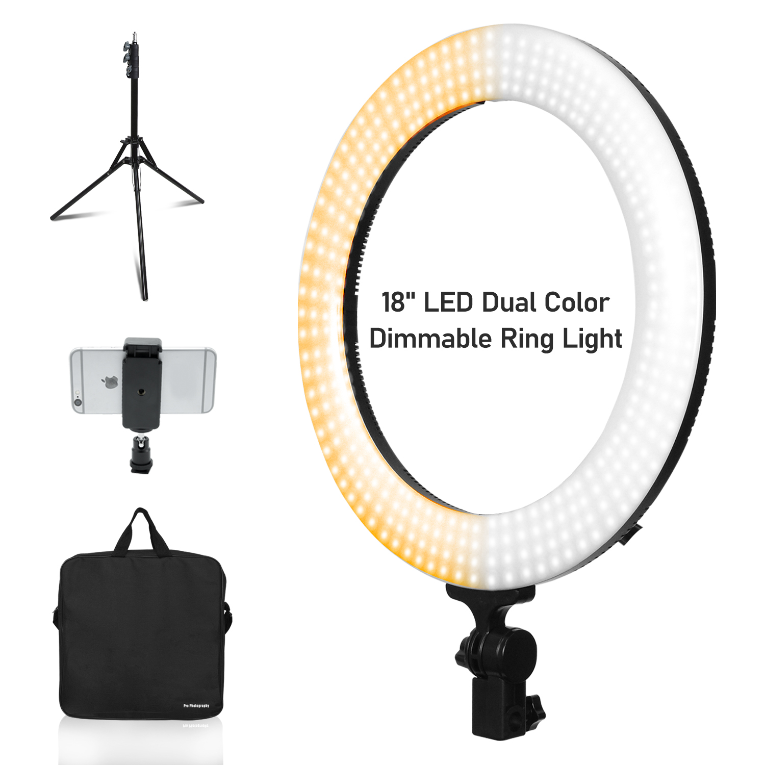 """Color Dimmable 18"""" Ring Light kit and Strobe Light Stand ..."""