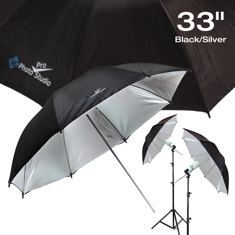 "US SELLER | 2x 33"" Black Silver Umbrella Photography Light Photo Studio Video"