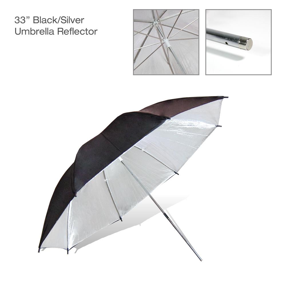 "US SELLER | 2x 33"" Black Silver Umbrella Photography Light Photo Studio Video 2"
