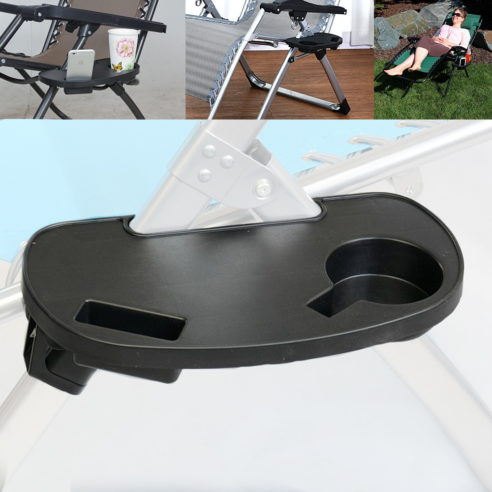 Clip-On Utility Tray W Cup Holders For Garden Gravity Recliner Chairs Accessory