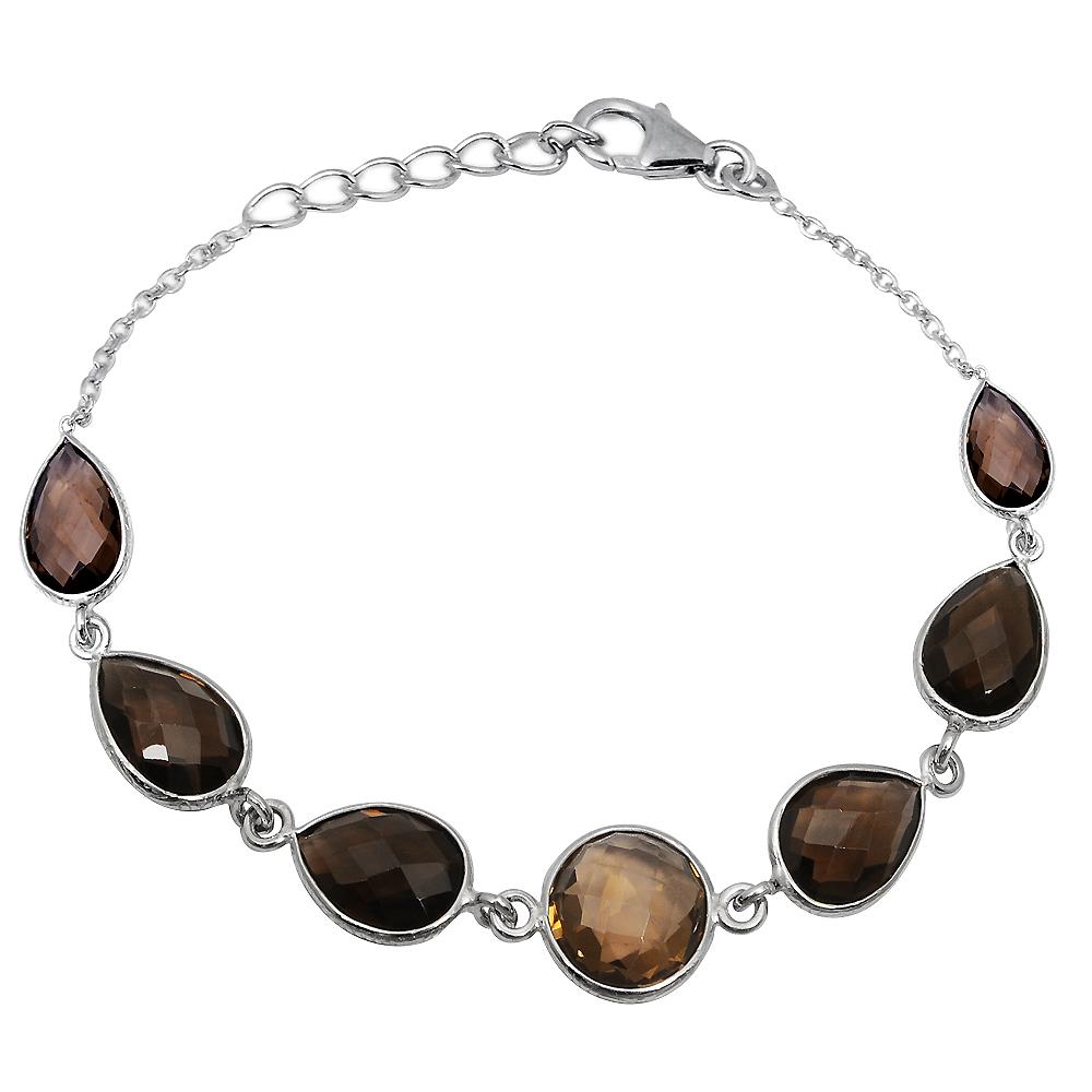 925-Sterling-Silver-Brown-Pear-Smoky-Quartz-Bracelet-Women-OJBR-6185