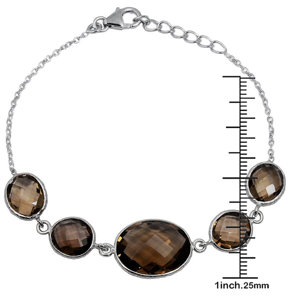 925-Sterling-Silver-Brown-Oval-Smoky-Quartz-Bracelet-Women-OJBR-6187 thumbnail 4