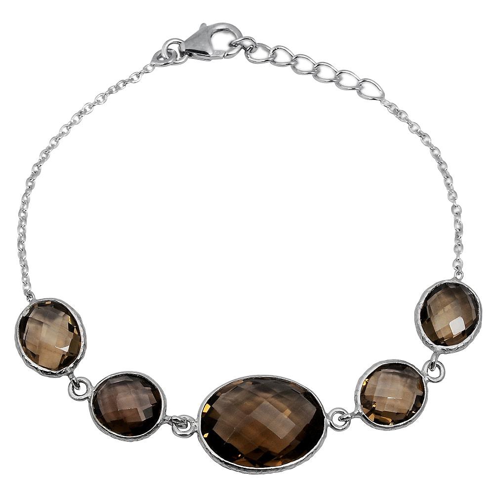 925-Sterling-Silver-Brown-Oval-Smoky-Quartz-Bracelet-Women-OJBR-6187