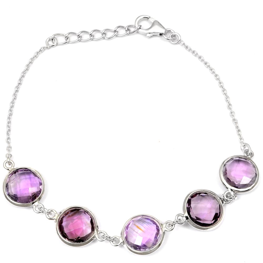Details about 20 Ct Round Cut Purple Amethyst Gemstone 925 Sterling Silver  Chain Bracelet #26