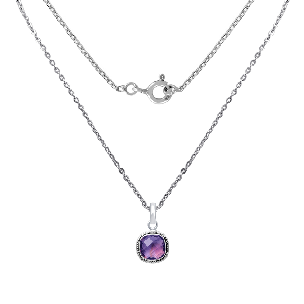7-Ct-Cushion-Purple-Amethyst-925-Sterling-Silver-Solitaire-Jewelry-Pendant-23 thumbnail 2