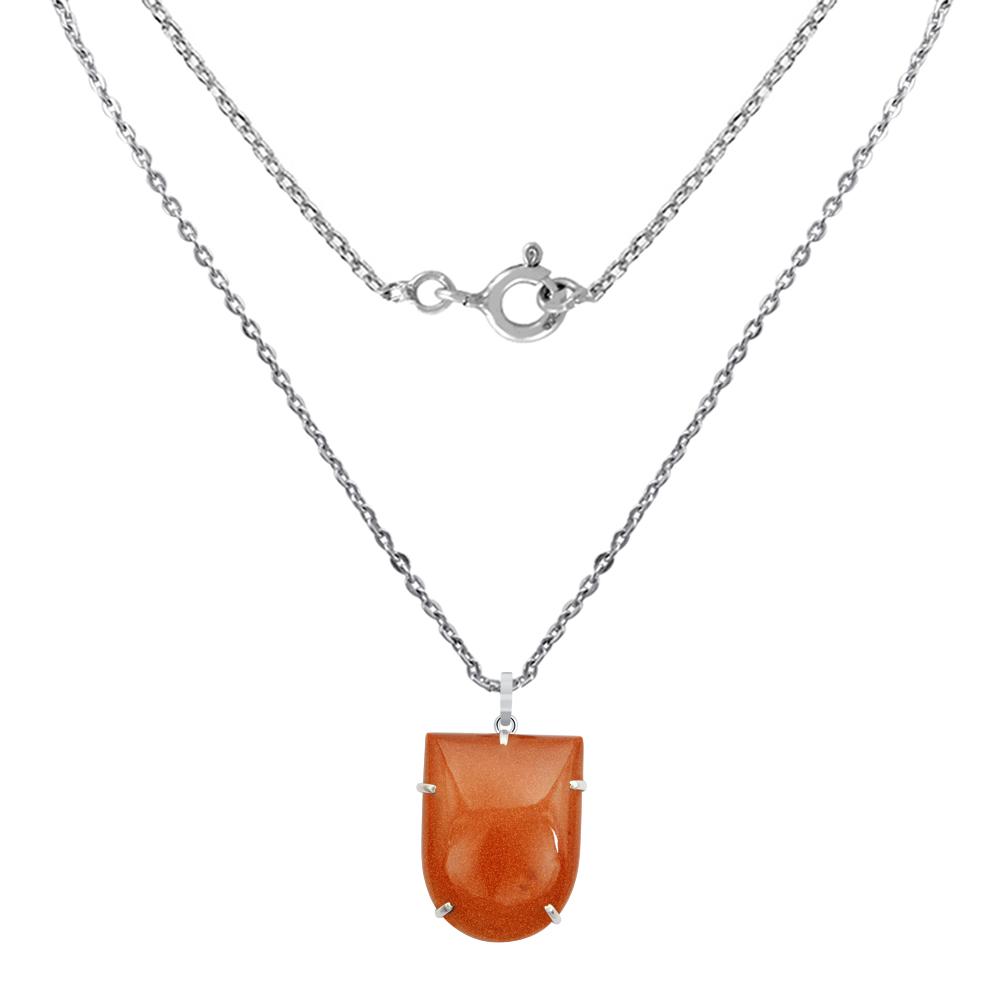82-Carats-925-Sterling-Silver-Fancy-Sunstone-Feldspar-Pendant-Women-OJPD-2704SS thumbnail 2