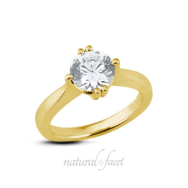 0.20ct F SI1 Very Good Round AGI Certified Diamond Yellow gold Basket Ring 1.9mm