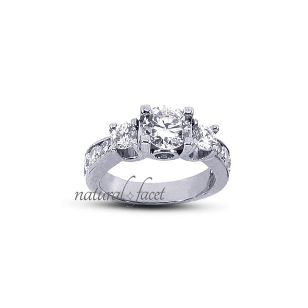 2.07 Carat tw D VVS1 VG Round Diamonds 14k White gold Gallery 3-Stone Ring 3.4mm