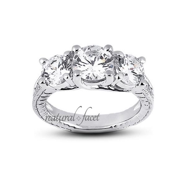1.36ct D VVS1 Ideal Round Diamonds 18k gold Engraved Milgrain Accents Ring 3.1mm