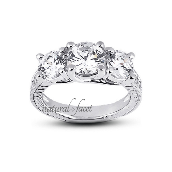 1.94ctw D VVS1 Ideal Round Diamonds 14k gold Engraved Trellis Wedding Ring 3.2mm