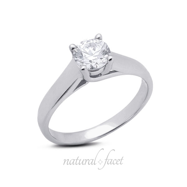 0.45 Carat D VVS1 Ideal Cut Round Diamond Platinum Trellis Solitaire Ring 3.5mm