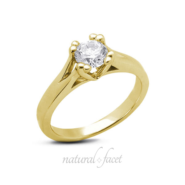 0.75ct D VVS1 Very Good Round Diamond Yellow gold Cathedral Solitaire Ring 2.9mm