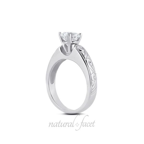 1.27 Carat D VVS1 Ideal Round Diamond White gold Vintage Solitaire Ring 4.6mm
