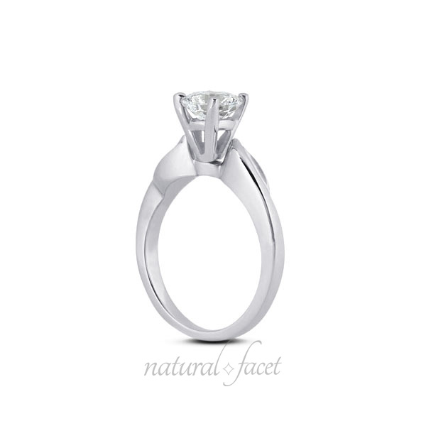 0.55 CT D VVS1 VG Round Diamond White gold Vintage Engraved Solitaire Ring 3.4mm