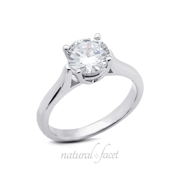 1.66 CT D VVS1 Ideal Cut Round Diamond White gold Cathedral Solitaire Ring 2.8mm