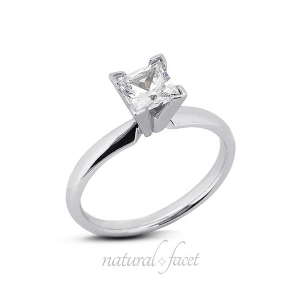 0.55 CT. D VVS1 Ideal Cut Princess Diamond Platinum Classic Solitaire Ring 2.7mm